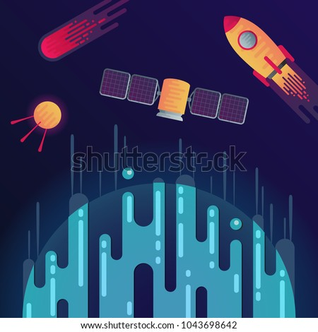 Vector illustration of sci-fi planet, rocket, meteor or comet, space satellite and satellite with solar cell in space. Abstract cosmic objects around digital blue planet with dribbles in flat style