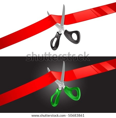 vector illustration of scissors cutting red ribbon