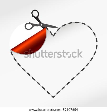 vector illustration of Scissors. Vector sticker heart