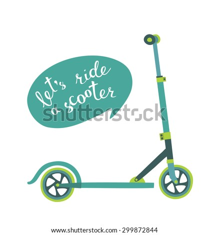 Vector illustration of scooter and lettering on white isolated background