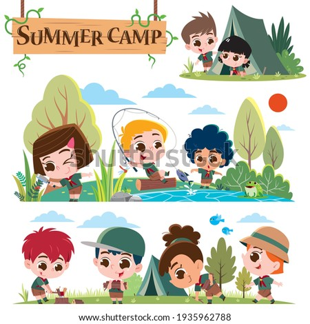 Vector illustration of Scout kids character. Summer camp scouts. Summer camp kids