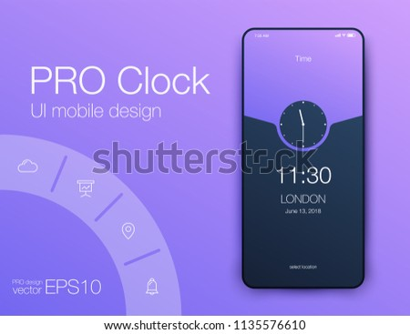 Vector Illustration of screens and web concept. Interface UX, UI GUI screen template for web site banners. Clock