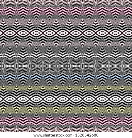 Vector illustration of scribbled warped horizontal stripes, zigzags, waves and rhombuses. Scribble texture, textile rapport. Seamless repeat pattern for gift wrap, textile, fabric, scrapbooking and fa
