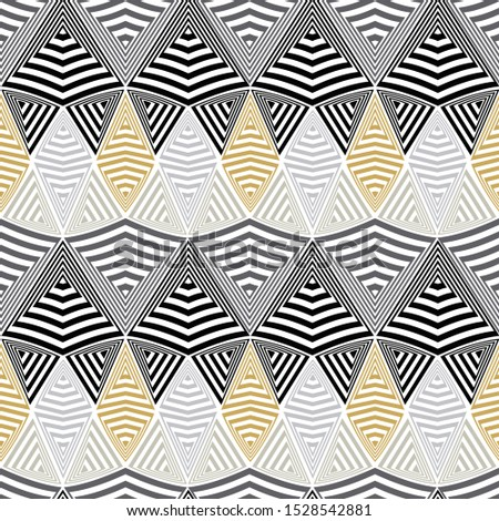 Vector illustration of scribbled warped horizontal stripes, zigzags, waves and rhombuses. Scribble texture, textile rapport. Seamless repeat pattern for gift wrap, textile, fabric, scrapbooking