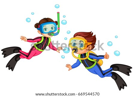 Shutterstock Vector illustration of scuba diver girl and boy