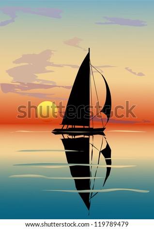 Vector illustration of sea dusk with a sailboat over sun