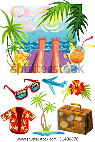 Vector illustration of sea holiday and bunch of travel stuff
