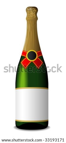 Vector illustration of sealed blank champagne bottle isolated on white background