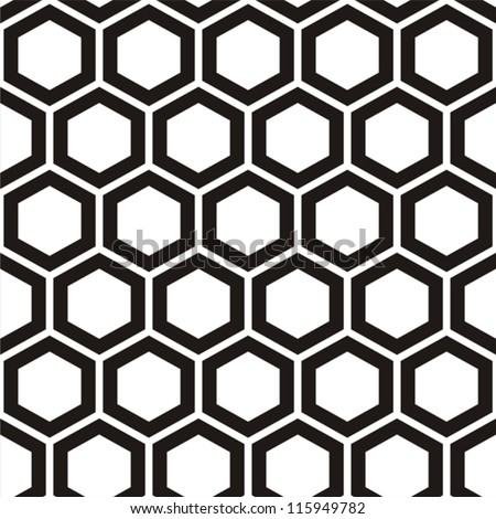 Vector illustration of seamless black-and-white geometric pattern with honeycombs - stock vector