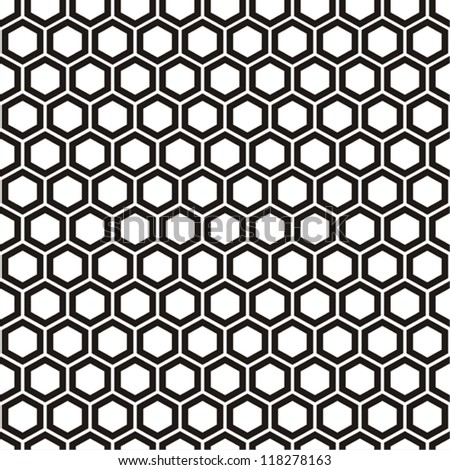Vector illustration of seamless black-and-white geometric pattern with honeycombs