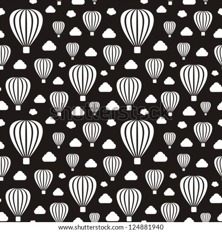 Vector illustration of seamless black-and-white pattern with air-balloons