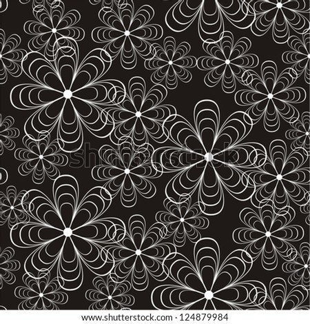 Vector illustration of seamless black-and-white pattern with creative flowers