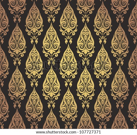 vector illustration of seamless decorative wallpaper with oriental motifs in gold and black. Black Bedroom Furniture Sets. Home Design Ideas