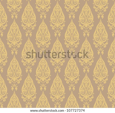 Vector illustration of seamless decorative wallpaper with oriental motifs in pale colors