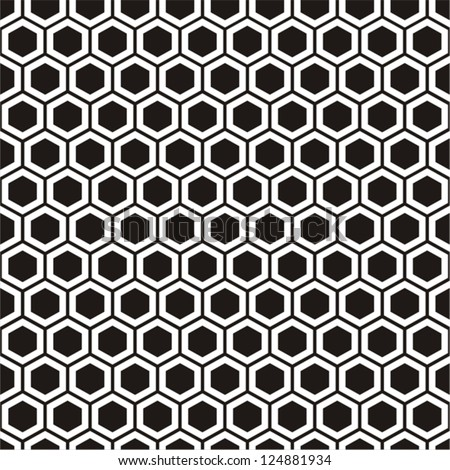 Vector illustration of seamless geometric black-and-white pattern with honeycombs