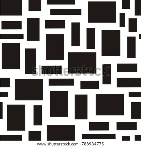 Vector illustration of seamless geometric black-and-white pattern with rectangle