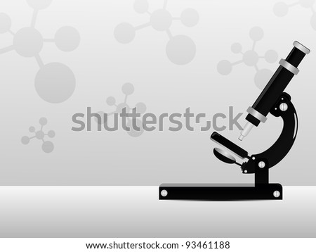 vector illustration of seamless molecule medical background with microscope.
