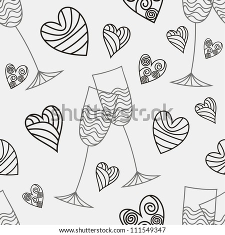Vector illustration of seamless pattern glass and heart line black and white