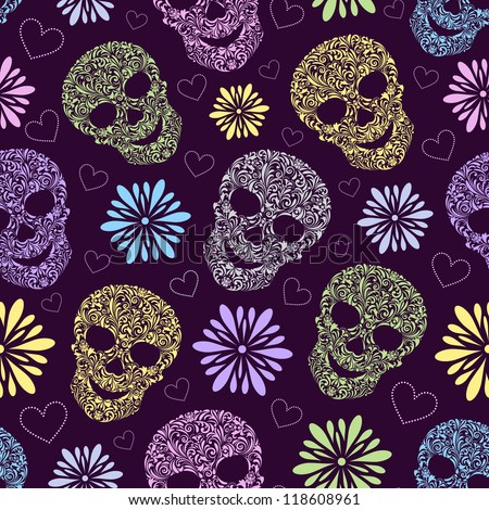 Vector illustration of seamless pattern with abstract floral skulls