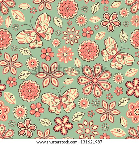 Vector illustration of seamless pattern with abstract flowers and butterflies.Floral background. It can be used for web page background,surface textures,textile industry and others.