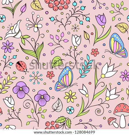 Vector illustration of seamless pattern with abstract flowers. It can  be used for web page background,surface textures,textile industry and others.