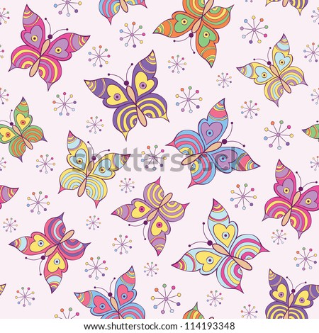 Vector illustration of seamless  pattern with colorful  butterflies