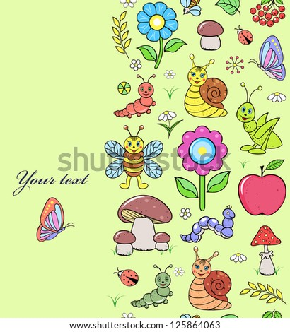 Vector illustration of seamless pattern with cute insects
