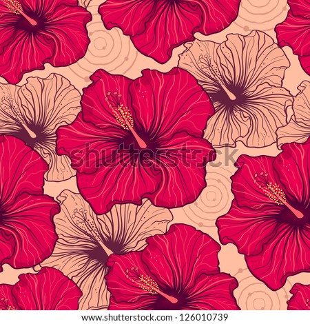 Vector illustration of seamless pattern with hand drawn hibiscus flowers