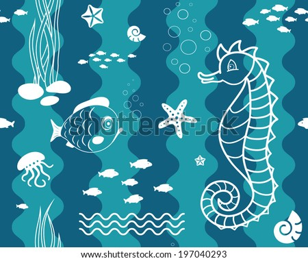 Vector illustration of seamless pattern with ocean animals.Underwater world