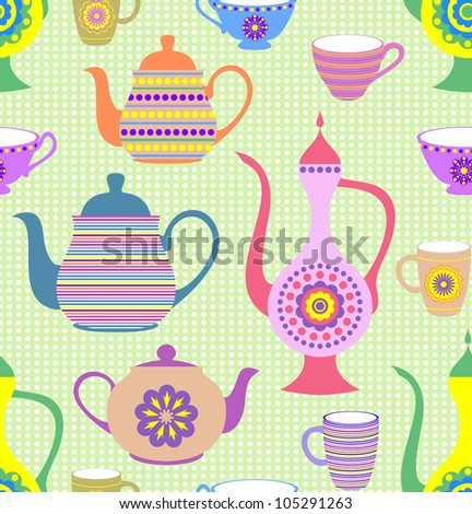 Vector illustration of seamless pattern with striped teapots and cups