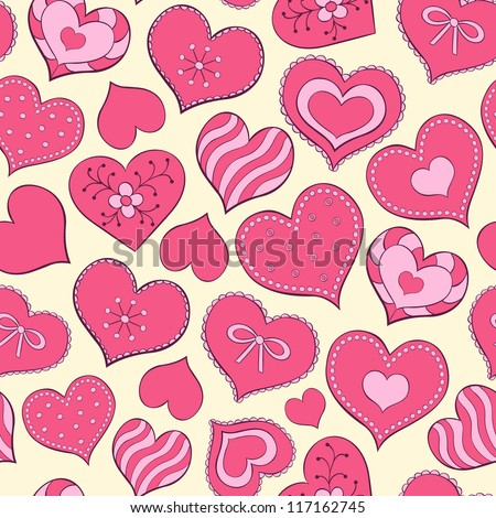 Vector illustration of seamless seamless pattern  with hand drawn valentine hearts