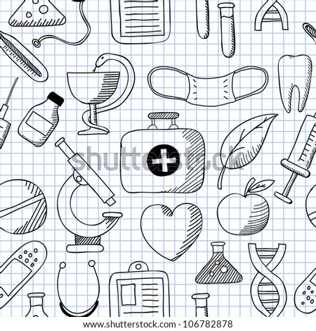 Vector illustration of seamless structure on Medicine