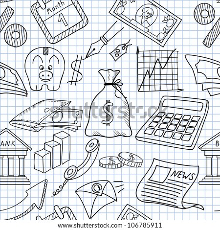 Vector illustration of seamless textures on the economy