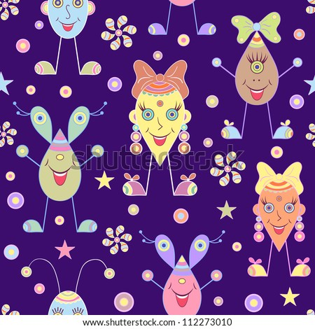 Vector illustration of seamless with abstract cartoon monsters