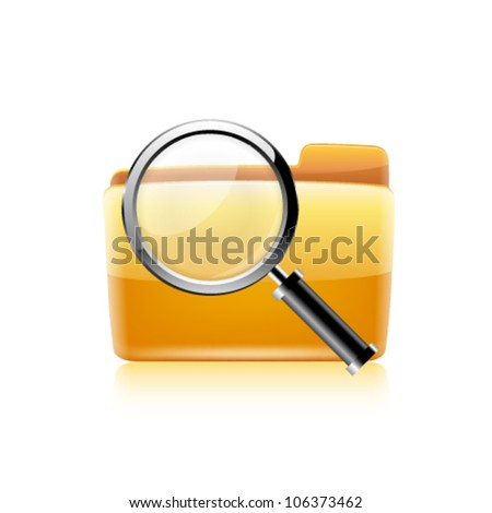 Vector illustration of search concept with yellow folder icon and magnifying glass