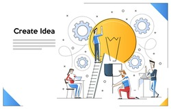 Vector illustration of searching for new ideas solutions, online assistant at work. promotion in the network. working together in the company, brainstorming