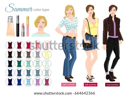 Vector illustration of seasonal color palette for soft, cool and light summer type. Young woman in different clothes. Set of cosmetics on white background.