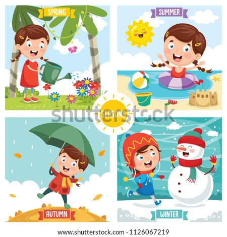 Vector Illustration Of Seasons stock photo
