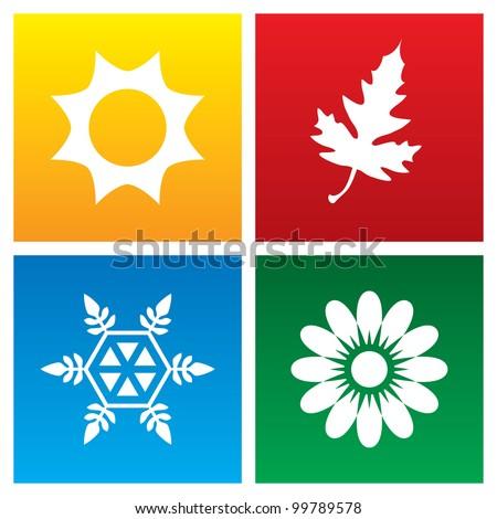 Vector illustration of seasons. - stock vector