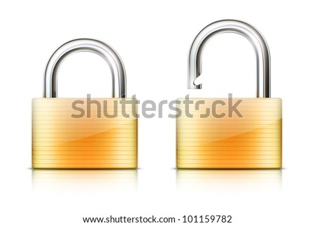 Vector illustration of security concept with locked and unlocked pad lock