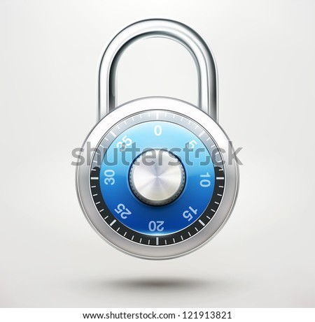 Vector illustration of security concept with locked blue combination pad lock