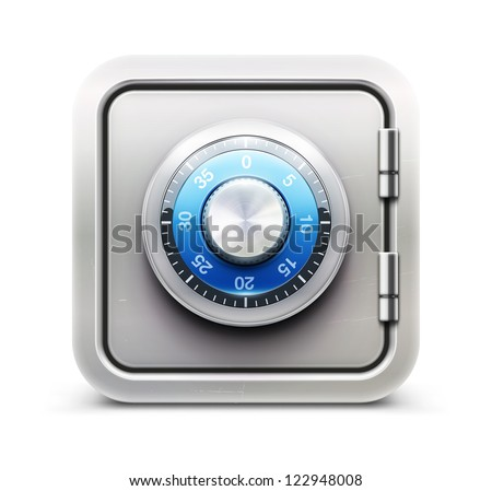 Vector illustration of security concept with metal safe icon