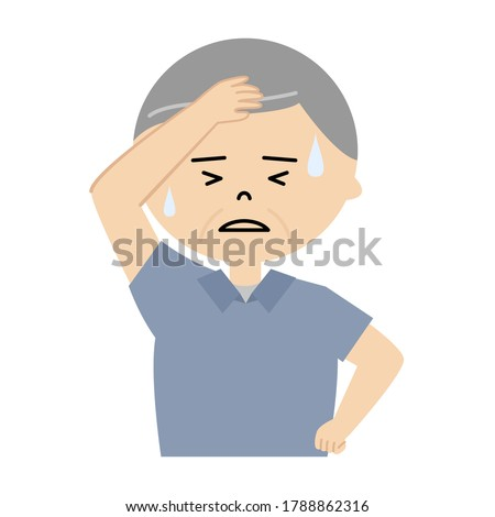Vector illustration of senior man sweating profusely Сток-фото ©