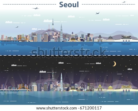 vector illustration of seoul at