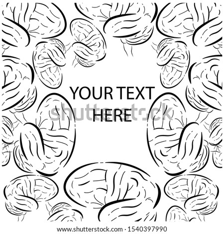 Vector illustration of set brains that make out the frame. Used uneven lines. It can be used for text design, invitations to scientific conferences, scientific medical slides on neurology, etc.