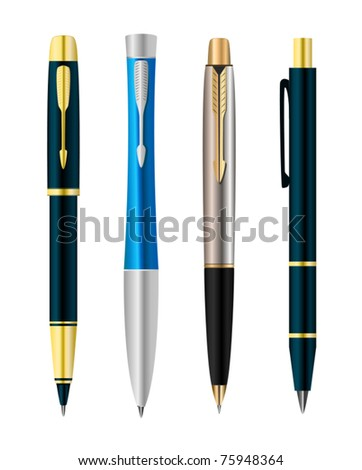 Vector illustration of set colorful pens