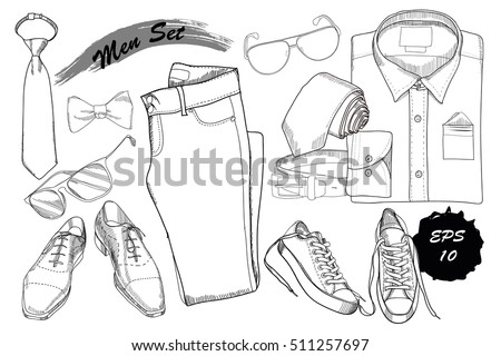 Vector Illustration Of Set Hand Drawn Doodle Coordination Folded Shirt Tie Trousers