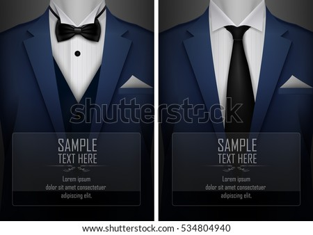 Vector illustration of Set of business card templates with suit and tuxedo and place for text for you