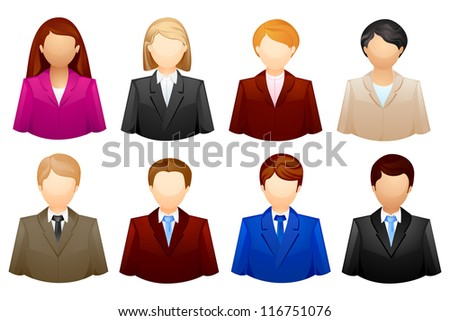 vector illustration of set of business people icon