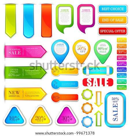 vector illustration of set of colorful label for tag